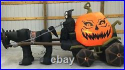 12ft Gemmy Airblown Inflatable Prototype Halloween Grim Reaper Carriage #56707