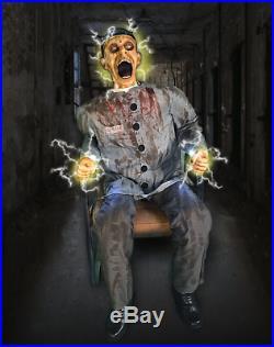 4.5 Ft Electrocuted Prisoner Animatronics Halloween Decorations Prop VIDEO