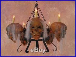 5 Corpsed Skull Chandelier, Halloween Prop, Human Skulls/Skeleton, NEW