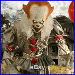 6 FT ANIMATED PENNYWISE THE CLOWN FROM IT Halloween Prop MOVIE SOUNDS
