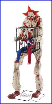 7 Ft ANIMATED CAGEY THE CLOWN WITH CLOWN Halloween Prop HAUNTED HOUSE