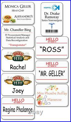 9 Pc. Friends Tv Show Name Badges Tags Props Halloween Costume Cosplay Magnetic