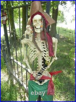 Animated Life Size Captain Jack Morgan Skeleton Pirate Talking Halloween Prop