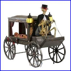 Animated Lighted LED Hearse With Skeletons over 5'x6' Halloween