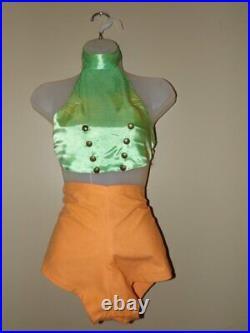Authentic VINTAGE 1950s 4 Pc CIGARETTE GIRL Dancer COSTUME Top Shorts Hat Cuffs