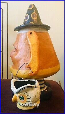 Bethany Lowe CANDY CORN CHARLIE Large Paper Mache Halloween Figure 21 Owl Witch