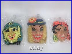 Box Full of 1970s Vintage Halloween 15 Masks & Costumes