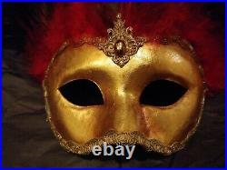 Cirque Du Soleil Hand Made Mask Red Feather Gold