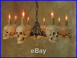 Eight Medium Skull Chandelier, Halloween Prop, Human Skeletons Skulls, NEW
