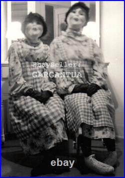 FREAK NIGHTMARE HALLOWEEN MASK COSTUME TWIN KILLER CLOWNS 1930s VINTAGE PHOTO