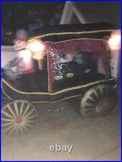 Gemmy Horse Drawn Carriage Hearse 12 Ft Airblown Halloween Inflatable Blow Up