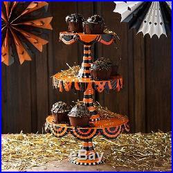 Glitterville Halloween Cake Plate Stand 3 Tier Stacking Cupcake CS0079