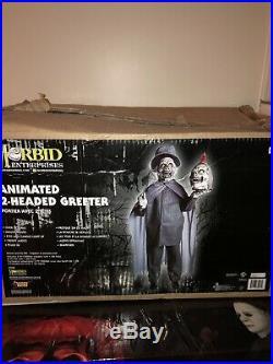 HALLOWEEN 2 HEADED GREETER PROP Morbid Animated Gemmy Spirit Halloween Rare Htf
