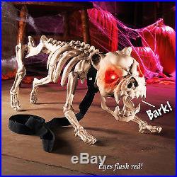 Halloween Animated Dog Skeleton with LED Eyes Light and Barking Sound Creepy Pet