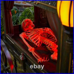 Halloween Animated Skeleton Carriage LED Lights Decor Skull Decoration Party