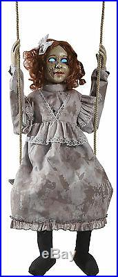 Halloween Animated Swinging Decrepit Doll Girl Prop Decoration Haunted House