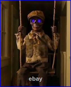 Halloween Animated Swinging Skeleton Skeletal Boy LifeSize Prop Haunted Spirit