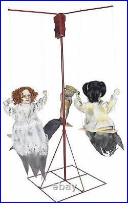 Halloween Animatronic GHOSTLY GO ROUNDS 3 DOLLS EERIE Prop Seasonal Visions
