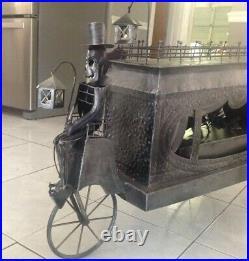 Halloween Huge Gothic Victorian Metal Hearse Skeleton Driver LED Lanterns Decor