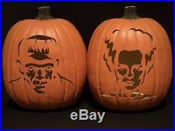 Halloween Jack-O-Lantern Frankenstein & Bride (Hand Carved Foam Pumpkin)