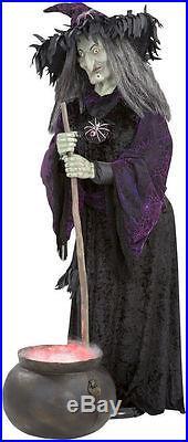Halloween LIFESIZE Gemmy Animated Witch Fogging Cauldron Haunted House Prop RARE