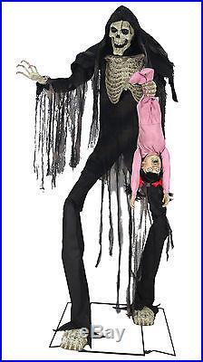 Halloween LifeSize Animated SKELETON TOWERING BOOGEY MAN WITH KID Prop Haunted