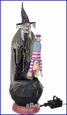 Halloween LifeSize Animated STEW BREW WITCH W KID W FOG Prop Haunted House NEW