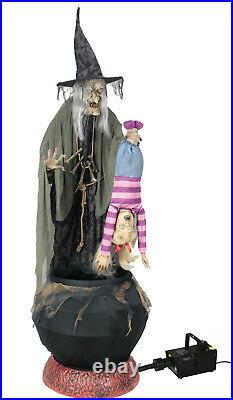 Halloween Life Size Animated Witch Cauldron With Kid Prop Decor Fog Machine