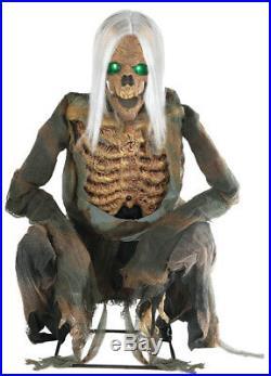 Halloween Lifesize Animated Crouching Bones Skull Prop Decoration Haunted House