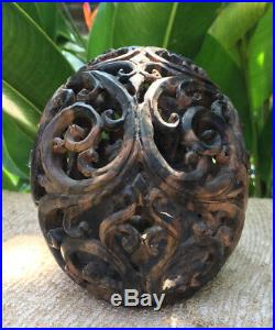 Hand Carved Wooden Realistic Human Skull Black Wood Amazing Craving flexible Jaw