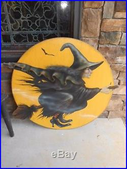 Hand Painted Signed Boardwalk Originals Bonnie Barrett Witch On Yellow Moon 37