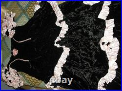 Handmade Petite Black and Pink Victorian Dress Gown 1X Stretch Velvet Costume