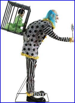 In Stock Halloween Animated Life Size Mr Happy Clown Caged Kid Prop Decoration