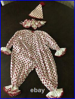 Incredible Old Vtg Clown Halloween Costume Red And White Polka Dots Ruffles