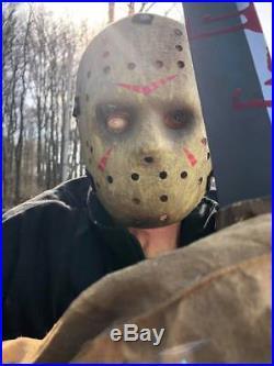 JASON VOORHEES LIFE SIZE GEMMY ANIMATRONIC. 6'4 TALL. Complete. Halloween prop
