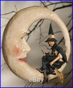 LG Bethany Lowe Halloween Witch Sitting On The Moon New 2019 16x16 Paper Mache
