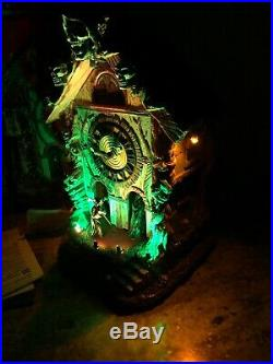 Lemax Spooky Town Cursed Cuckoo Haus Clock Grim Reaper Witch Halloween Animated