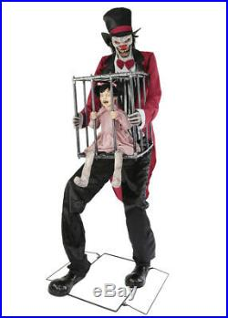 Life Size ANIMATED ROTTEN RINGMASTER CLOWN With KID Halloween Prop