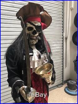 Lifesize Animated Pirate Skeleton Dead-eye Drake Halloween Prop Figure