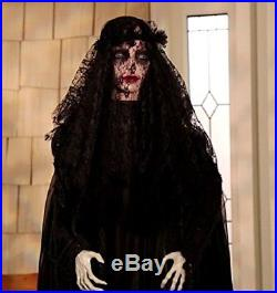 Lifesize Standing Widow Ghost Woman in Black with Flashing Red Eyes Spooky