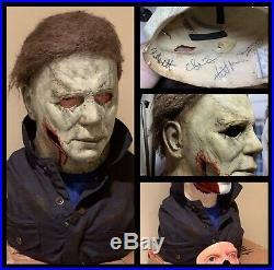 Michael Myers Mask + Bust H40 Gunshot Halloween Loaded W Signatures Jason Freddy