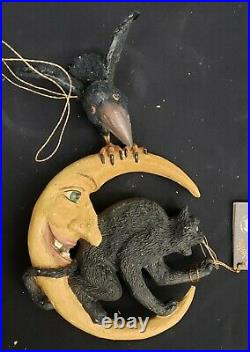 Morgue Sale Halloween Bethany Lowe Cat & Crow on Moon Retired 2004 BRAND NEW