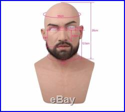 NEW High Quality Realistic Silicone Beard Man full face mask Male Latex Cosplay