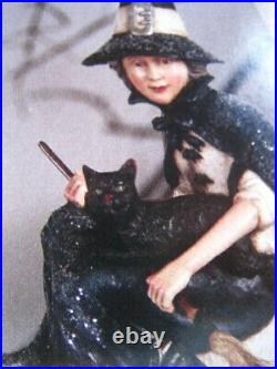 New Bethany Lowe Halloween Witch On Moon 16 x 16. TG 9807