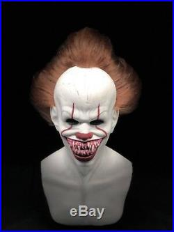 Nickels Full Silicone Mask IT Pennywise the Dancing Clown Mask with Hair