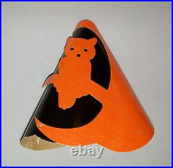 Old Antique Vtg Early Ca 1930s Halloween Paper Cardboard Party Hat Owl on Branch