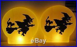 Rare 2 Vtg USA Halloween Blowmold Moon Witch Silhouette 21 Light Lamp Pair Exc