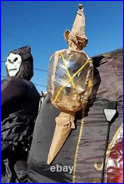 Rare Gemmy Halloween Inflatable Airblown 12ft Carriage Hearse with Reaper