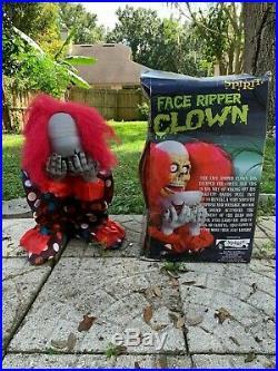 Rare Spirit Halloween Decor Creepy Face Ripper Clown Prop Animatronic With Box