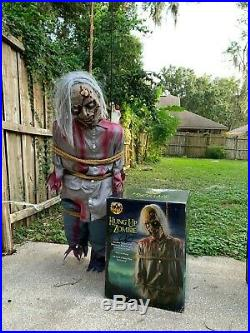 Rare Spirit Halloween Decoration Hung Up Zombie Animatronic Life Size Prop WithBox